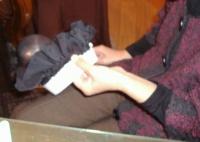N様・・・手縫いシニヨンハット製作中